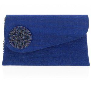Blue Clutch with Spiral Design and Silver Chain